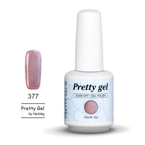 gel-lak-pretty-gel-377-rozovo-siten-brokat-nail