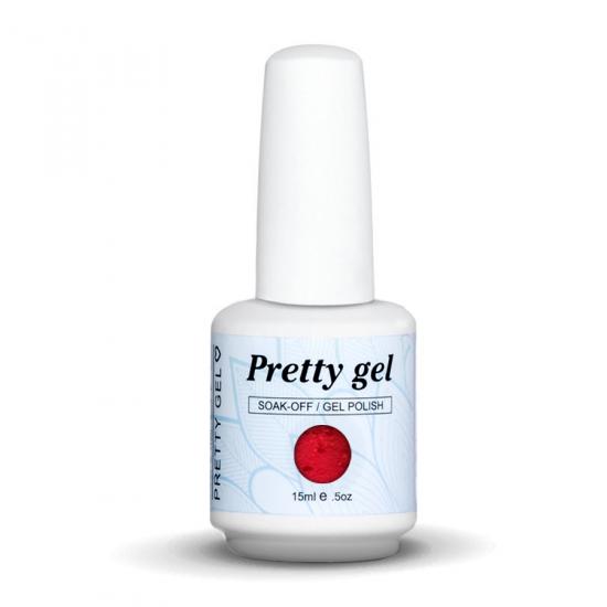 Pretty Gel 487 - Червен с частици 15 мл.