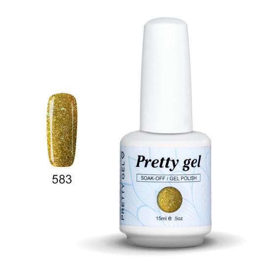 Pretty Gel 583 - Жълт с частици 15 мл.