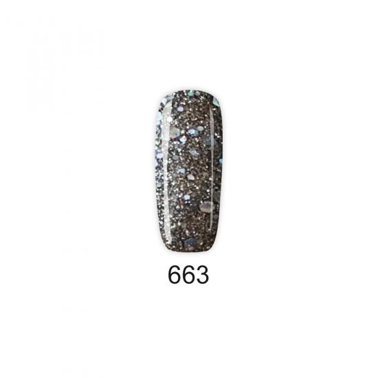 Pretty Gel 663 - Графит със ситен и едър брокат 15 мл.