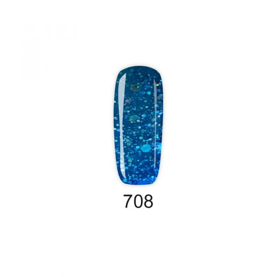 Pretty Gel 708 - Син с частици 15 мл.