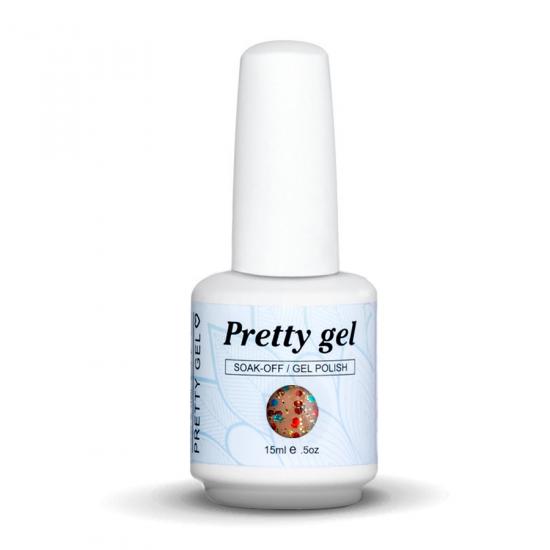 Pretty Gel 859 - Прозрачно розов с конфети 15 мл.