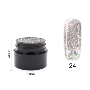 Цветен UV/LED гел Pretty 5 гр. – 24 Ситен сребърен брокат