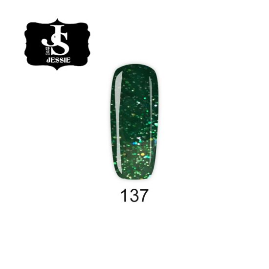 Jessie гел лак 137 - Зелен с едри и финни частици 8 мл.