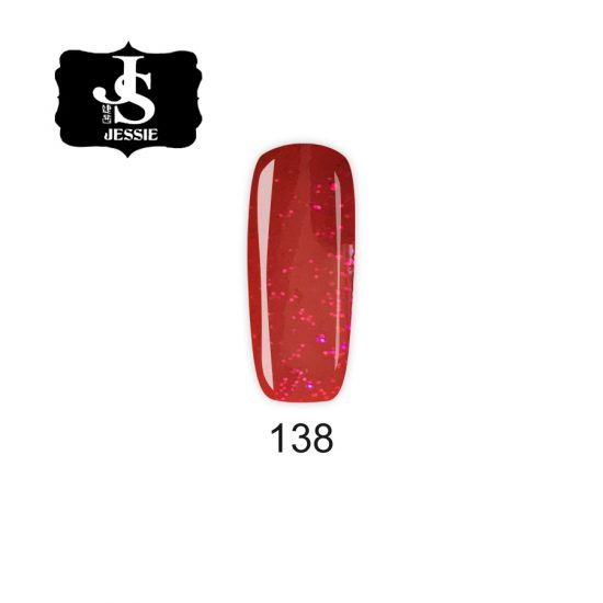 Jessie гел лак 138 - Червен с финни червени частици 8 мл.